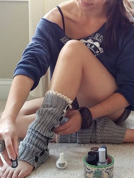 Gray with lace Legwarmers, Gray Lacy Boot Socks, Boot Cuffs