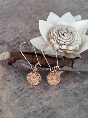 Rose Gold Druzy Drop Earrings