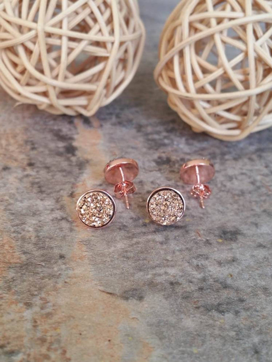 Rose Gold Earrings, Druzy Earrings, Druzy Studs, Bridal Earrings, Bridesmaid Earrings, Bridesmaid Gifts - Bedao Boutique