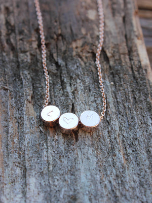 Personalized rose gold dot(s) charm necklace