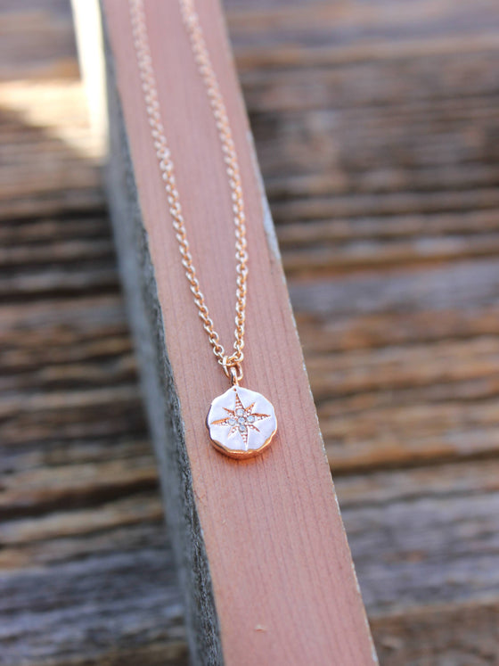 Dainty compass charm with tiny crystals necklace in rose gold