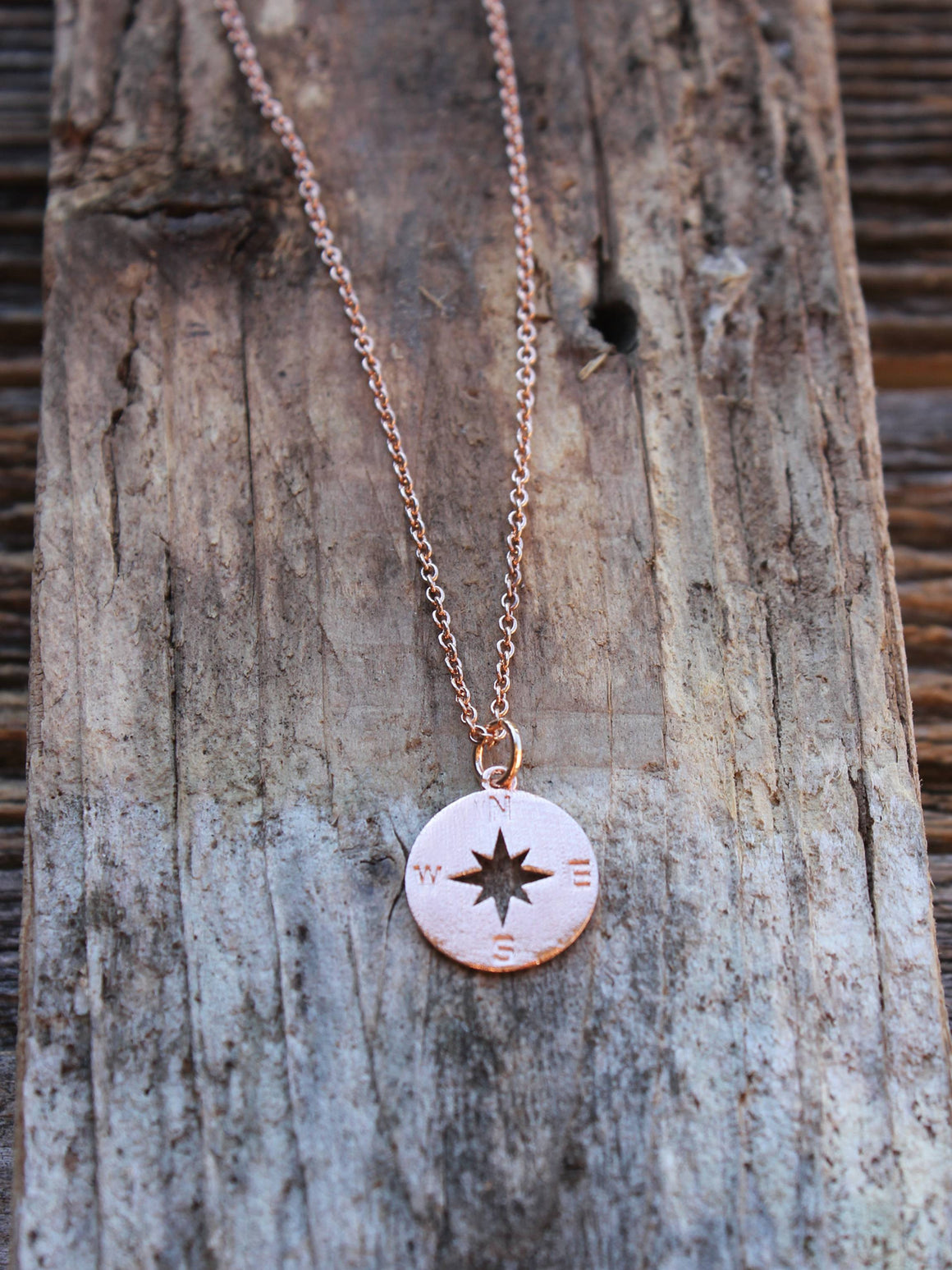Dainty compass charm necklace in rose gold