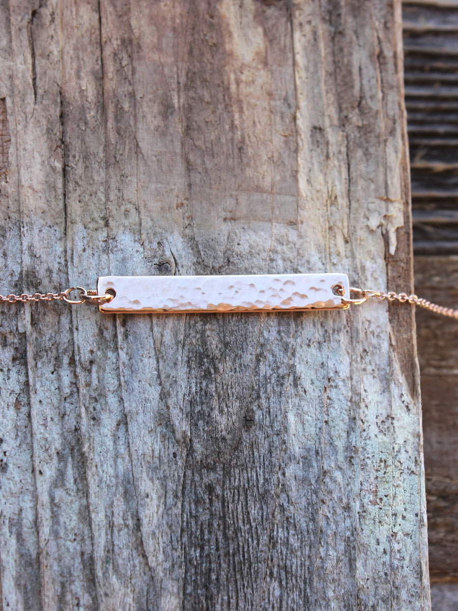 Dainty rose gold hammered bar necklace - Bedao Boutique