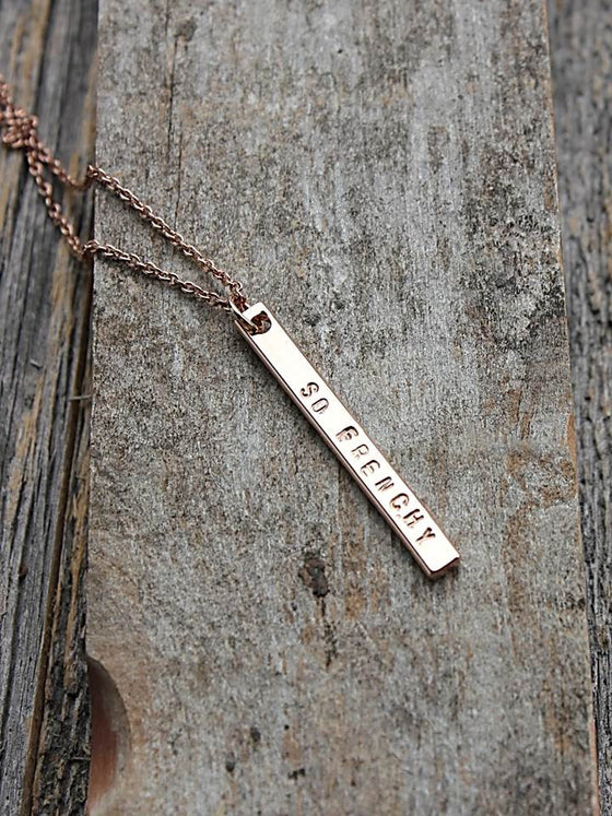 Dainty rose gold personalized vertical bar necklace