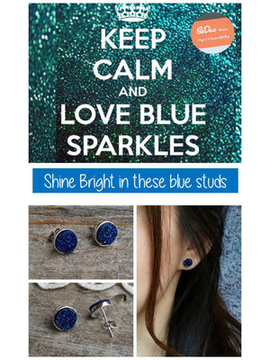 Blue Earrings, Blue Druzy Earrings, Druzy Studs, Bridal Earrings, Bridesmaid Earrings, Bridesmaid Gifts - Bedao Boutique