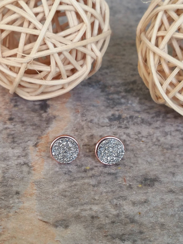 Silver Earrings, Druzy Earrings, Druzy Studs, Bridal Earrings, Bridesmaid Earrings, Bridesmaid Gifts - Bedao Boutique