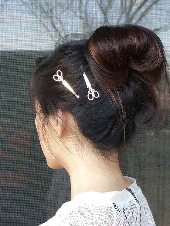 Woman wearing scissors hair bobby pins, scissors hair clips - Bedao Boutique
