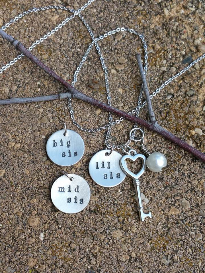 Personalized circle pendant with a heart key and pearl charm necklace for a sister
