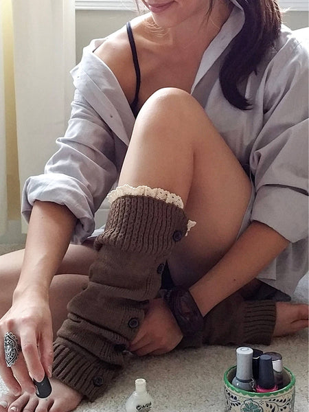 Brown with lace Legwarmers, Brown Lacy Boot Socks, Boot Cuffs