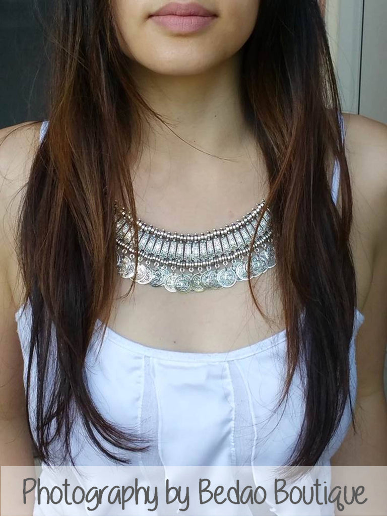 Small Silver Statement Coin Necklace