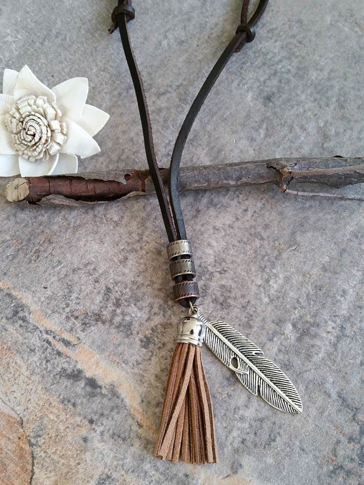 Suede Tassel Necklace (Camel)