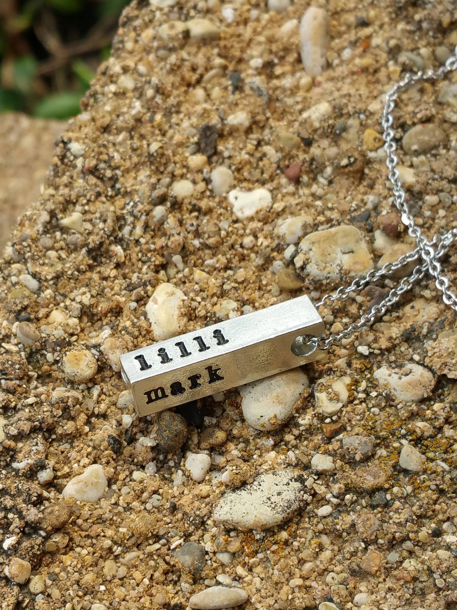 Personalized swivel silver bar necklace for her