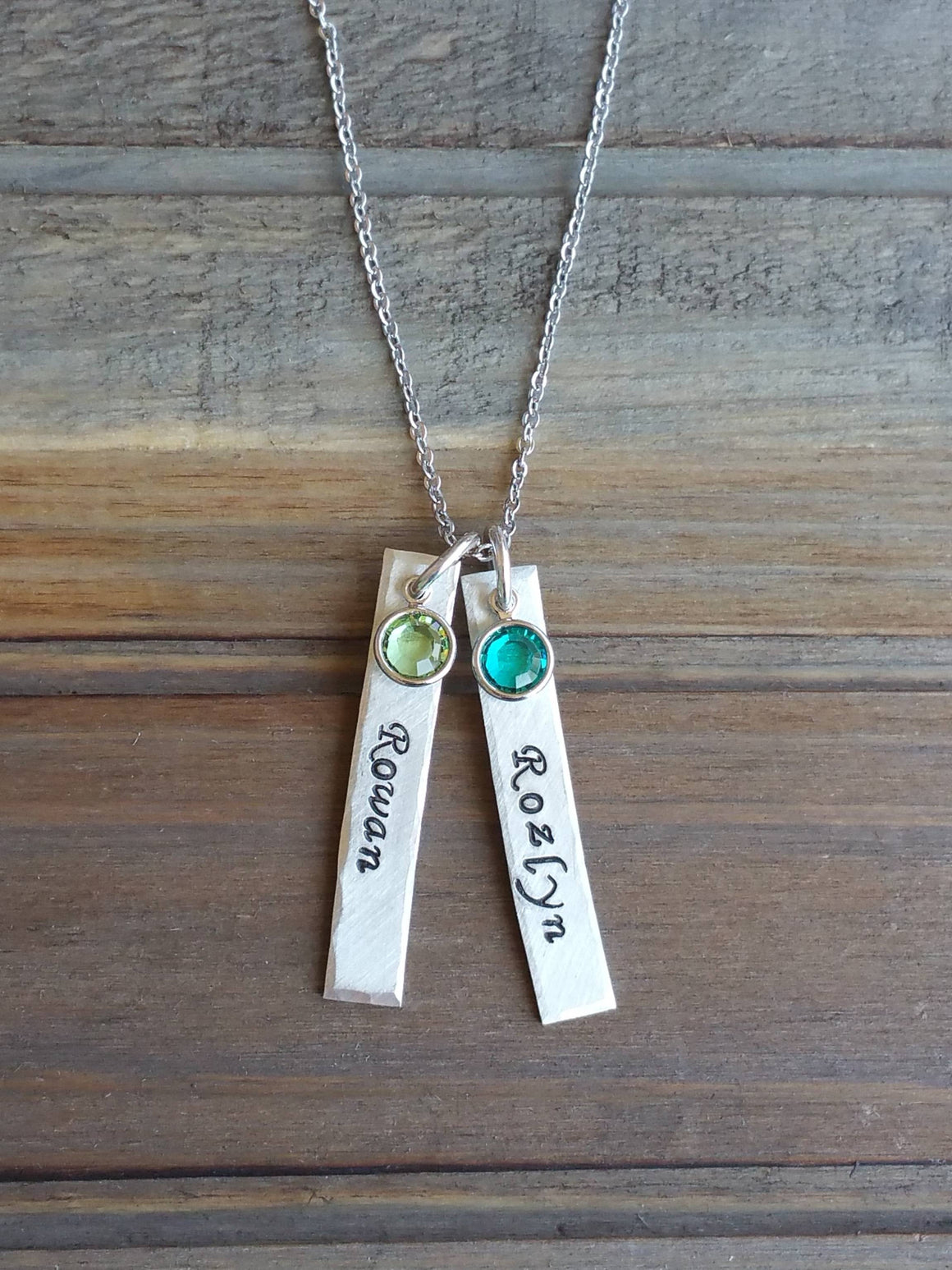 Personalized bars with birthstones necklace for mom