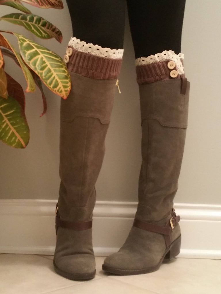 Taupe with lace Legwarmers, Taupe Lacy Boot Socks, Boot Cuffs