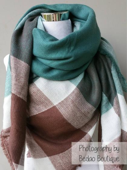 Check Blanket Scarves, Blanket Scarf, Tartan Scarves, Oversized Scarf, Plaid Scarves, Trendy Scarves - Bedao Boutique