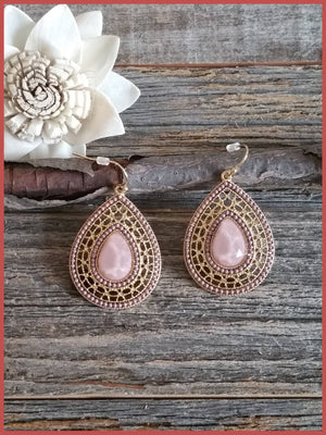 Rose Faceted Teardrop Beaded Earrings