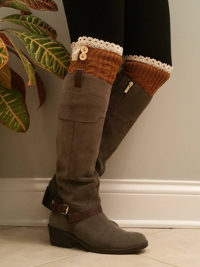 Toffee with lace Legwarmers, Toffee Lacy Boot Socks, Boot Cuffs