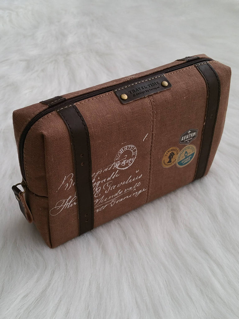 Brown Makeup Bag, Brown Travel Bag, Cosmetic pouch