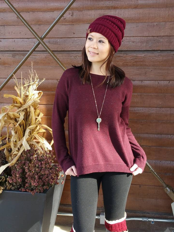"""Bedao Boutique's maroon burgundy beanie hat - Hats"""