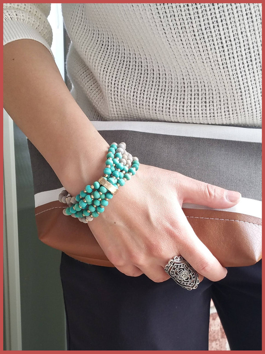 Multi Wood Bead Stretch Bracelet - Turquoise & Gray