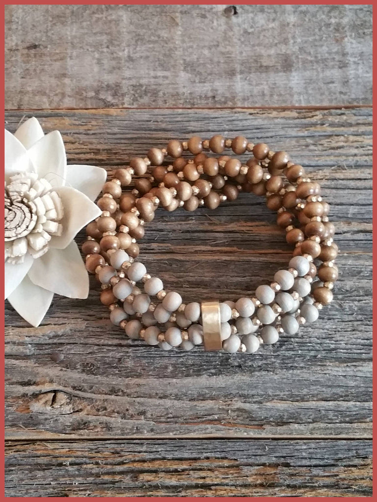 Multi Wood Bead Stretch Bracelet - Gray & Brown