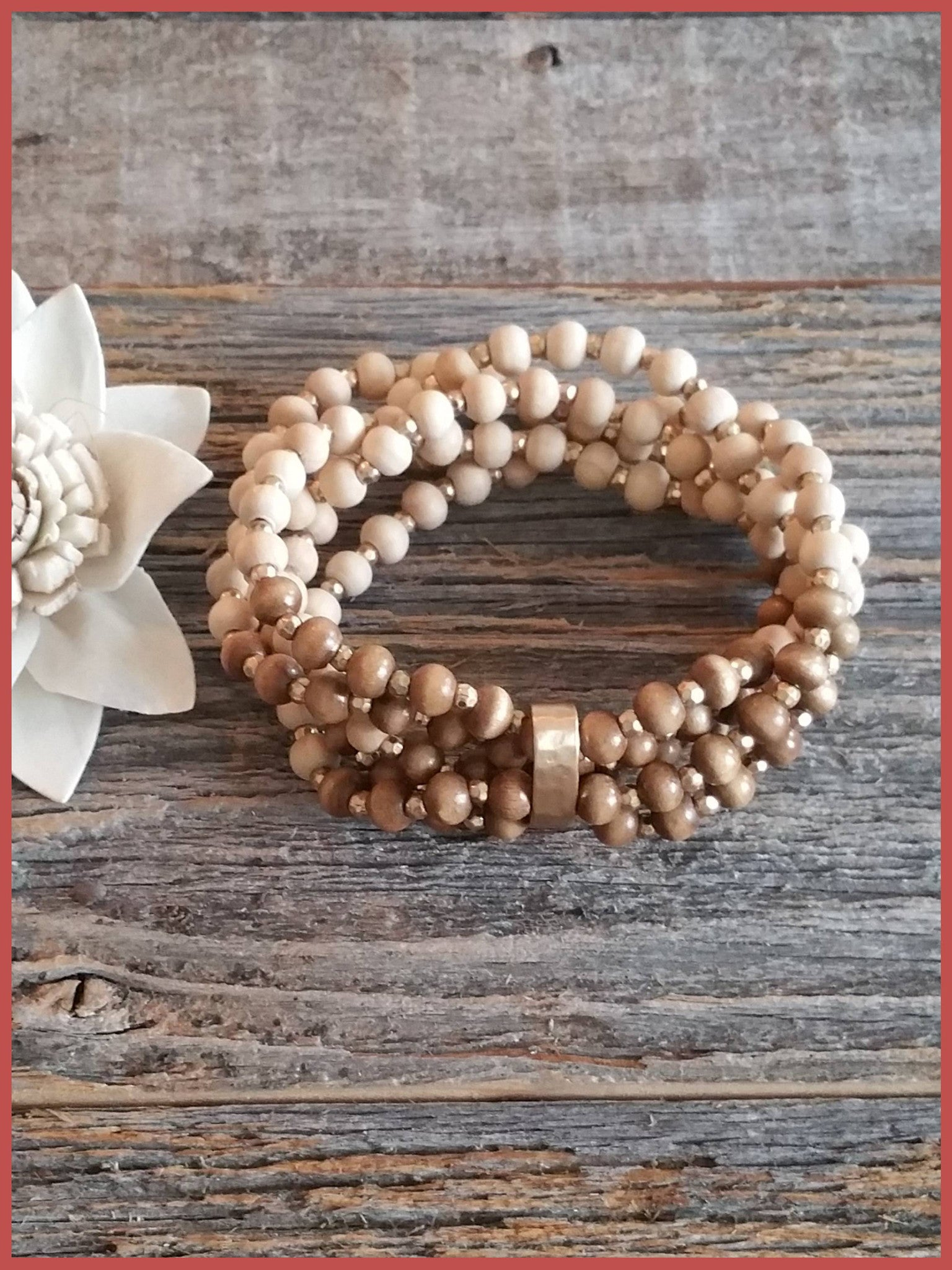 Multi Wood Bead Stretch Bracelet - Ivory & Brown