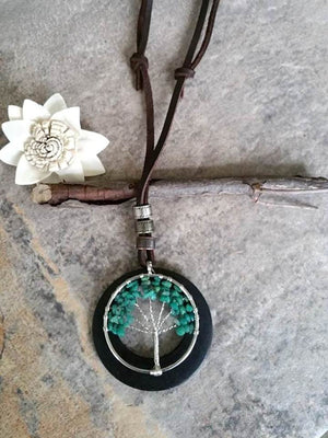 Green Tree Charm Wooden Necklace
