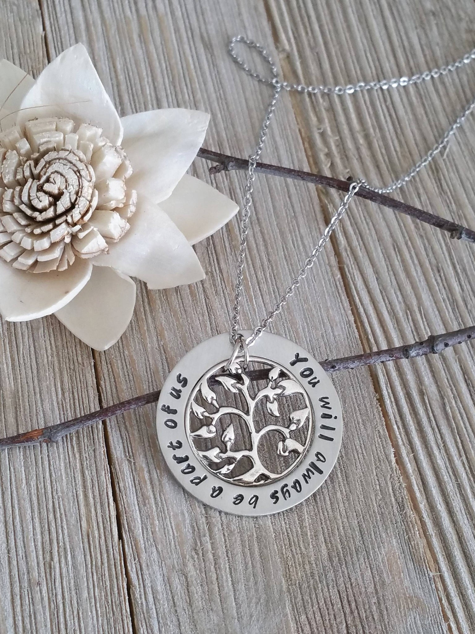 Personalized circle pendant with a tree charm necklace