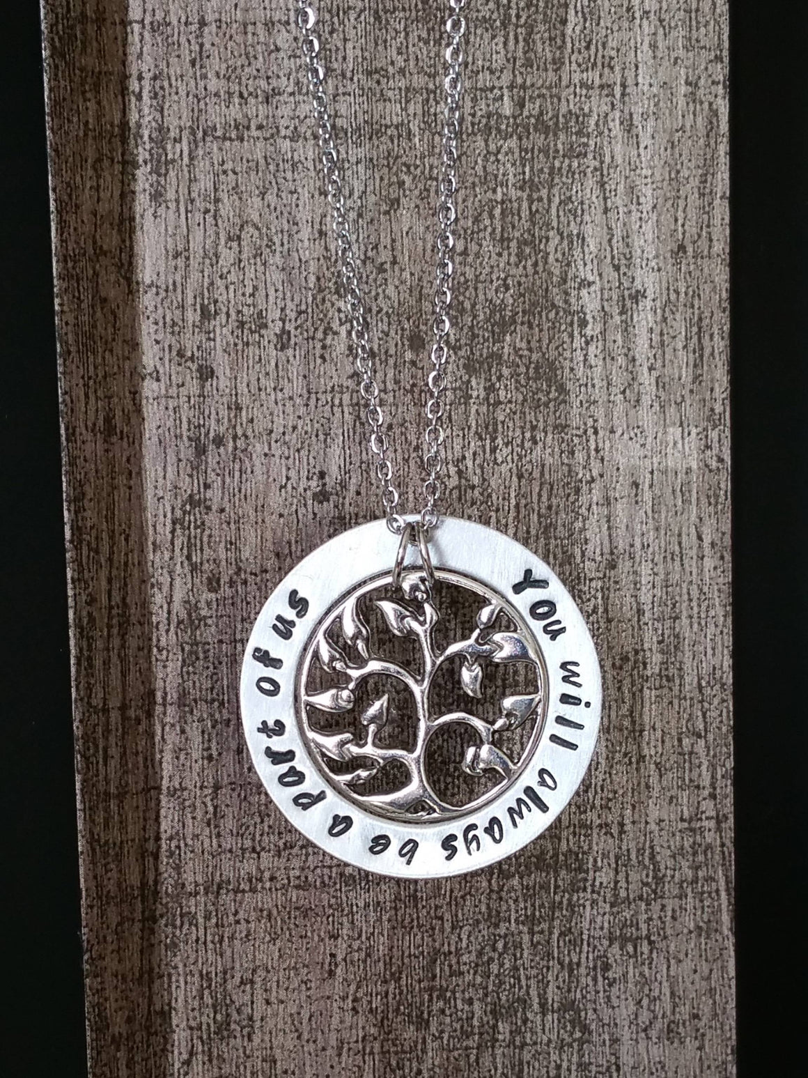 Personalized circle pendant with a tree charm necklace which you will always be a part of us