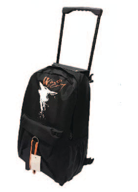 School bag black grey with wheel