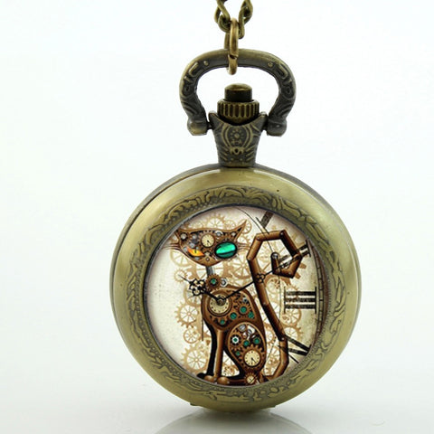 Image of Steampunk Cat Pocket Watch