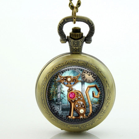 Steampunk Cat Pocket Watch