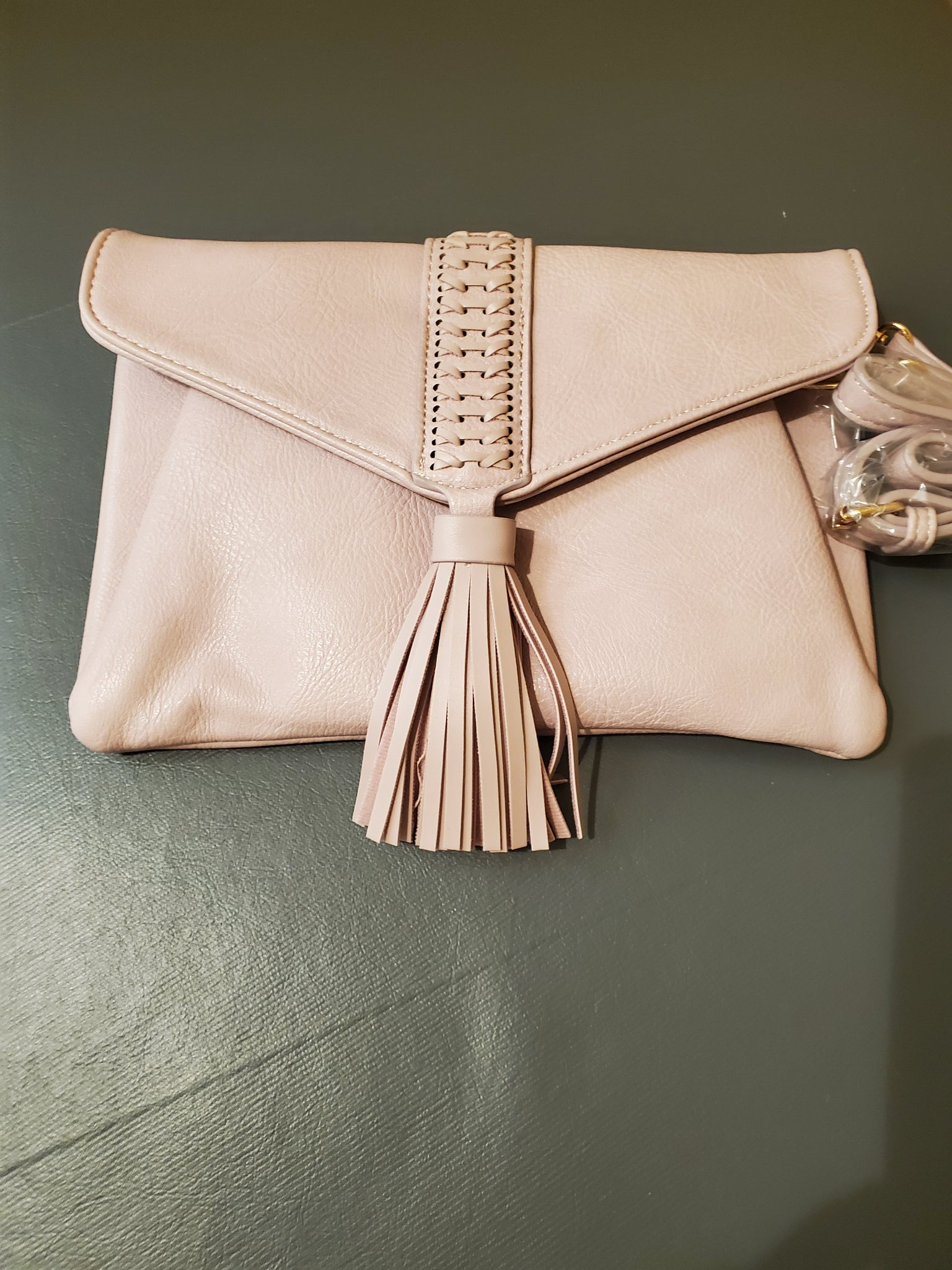 Blush Whipstitch tassle clutch/crossbody