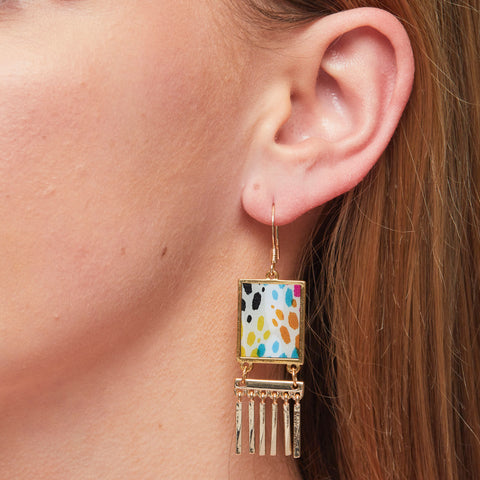 Rainbow Fringe Earrings in Gold