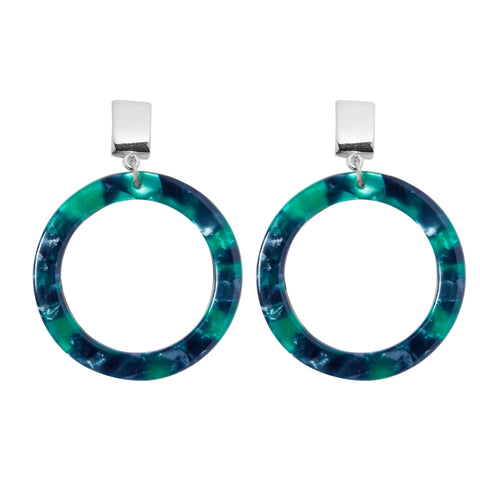 Brooke Earrings in Silver/Emerald