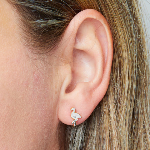 Flamingo Earrings in Silver