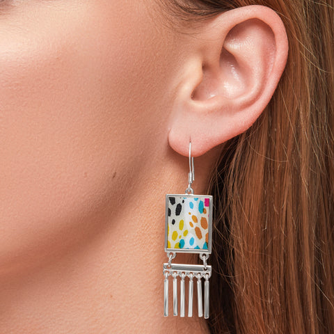 Rainbow Fringe Earrings in Silver
