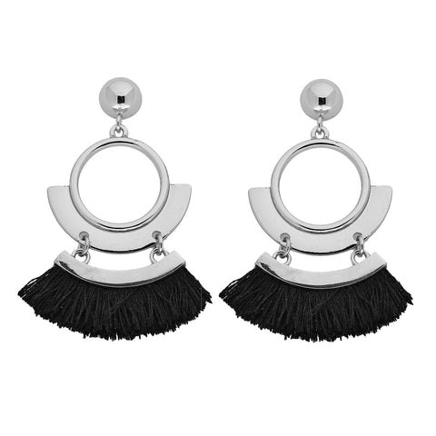 Gatsby Earrings in Silver/Black
