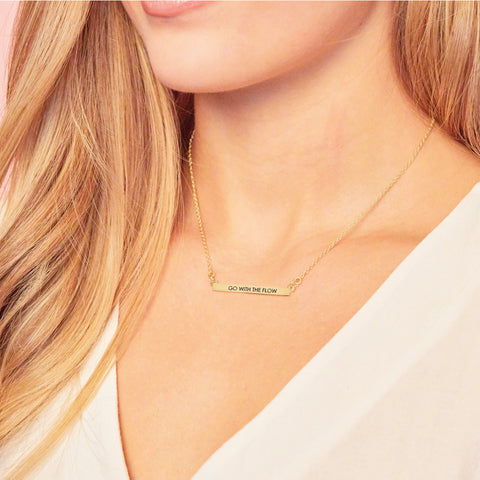 Go With The Flow Bar Necklace in Gold