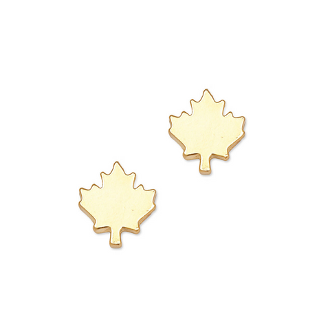 Canada Day Maple Leaf Studs in Gold