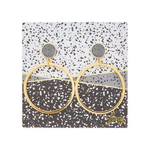 Hoopla Earrings in Gold/Grey
