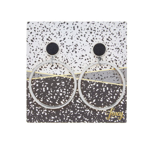 Hoopla Earrings in Silver/Black