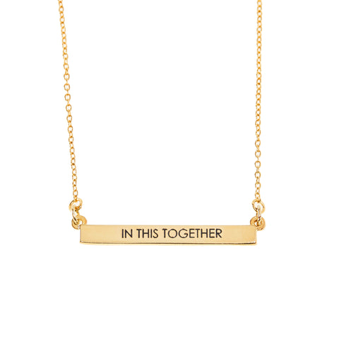 In This Together Bar Necklace in Gold