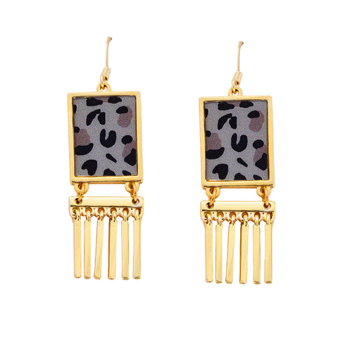 Leopard Fringe Earrings in Gold