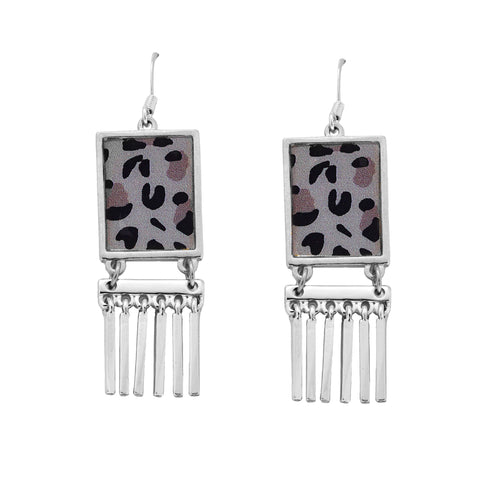 Leopard Fringe Earrings in Silver