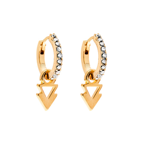 Lightning Bolt and Triangle Charm Earrings in Gold