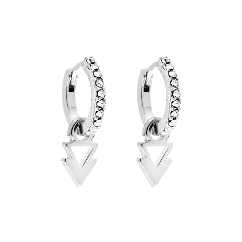 Lightning Bolt and Triangle Charm Earrings in Silver