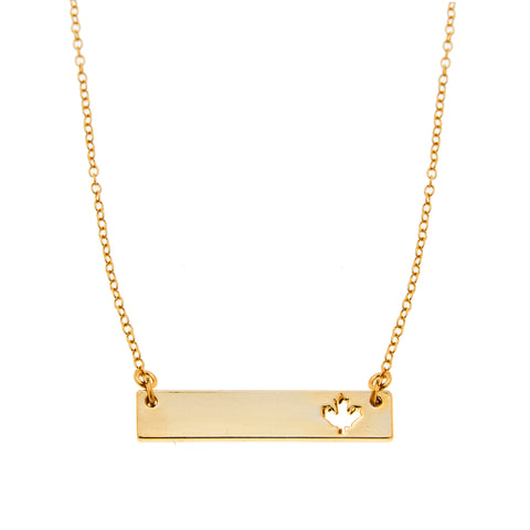 Maple Leaf Bar Necklace in Gold