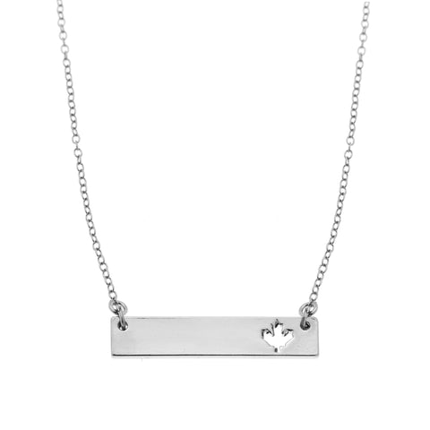 Maple Leaf Bar Necklace in Silver