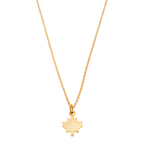 Maple Leaf Charm Necklace in Gold